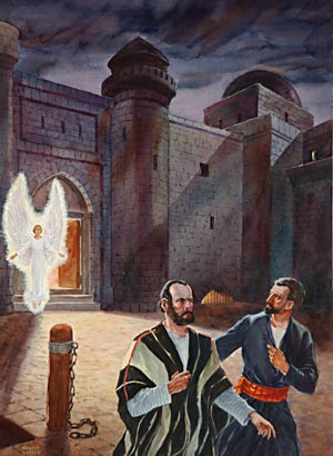 "By night the angel of the Lord opened the prison doors and said to the disciples, ""Go, stand and speak in the temple to the people all the words of this life."""