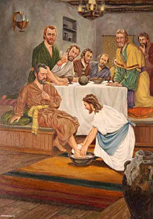 Jesus poured water into a basin, and began to wash the disciples' feet, and to wipe them with a towel.