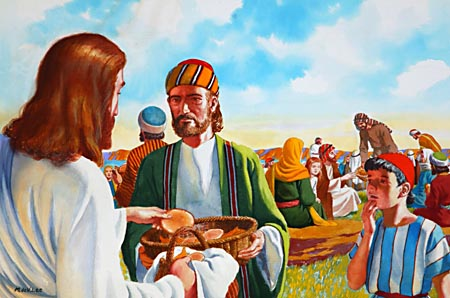 The food multiplied in Jesus' hands; and the hands of the disciples, reaching out to Christ Himself the Bread of Life, were never empty. The little store was sufficient for all.