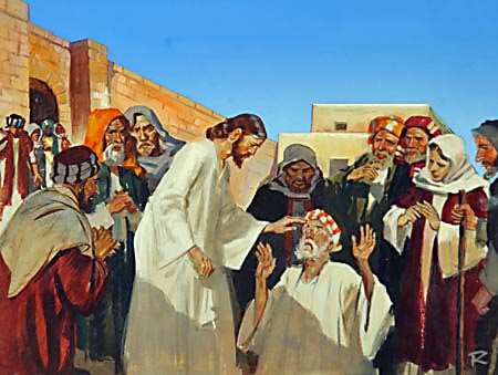 "Jesus anointed the eyes of the blind man with the clay, and said unto him, ""Go, wash in the pool of Siloam."""