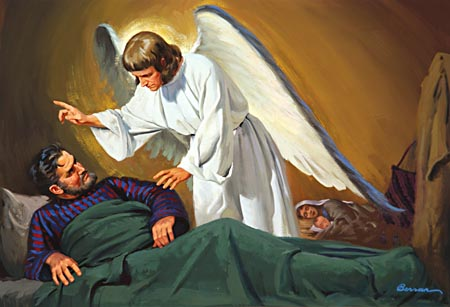 Joseph was warned by an angel to flee to Egypt.