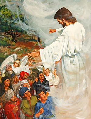 "While the disciples watched Jesus ascend to heaven, ""two men stood by them in white apparel; which also said, Ye men of Galilee, why stand ye gazing up into heaven? this same Jesus, which is taken up from you into heaven, shall so come in like manner as ye have seen him go into heaven."" Acts 1:10-11"