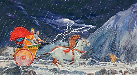 As Ahab returned to Jezreel, Elijah ran before the chariot and guided it through the rain.