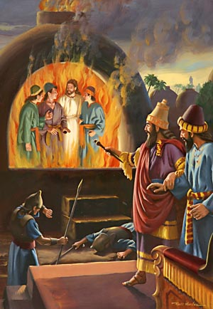 "In alarm the king, turning to his lords, asked, ""Did not we cast three men bound into the midst of the fire?"""