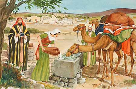 The attention of Abraham's servant was attracted by the courteous manners of Rebekah. As she came from the well, he met her and asked for a drink of water from the pitcher on her shoulder.
